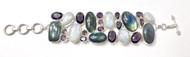 Amethyst, Moonstone & Labradorite Fancy CONDUCTIVE SILVER Bracelet