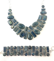 Blue Kyanite & Labradorite Fancy CONDUCTIVE SILVER Set