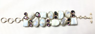 Moonstone & Mystic Topaz Fancy CONDUCTIVE SILVER Bracelet