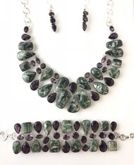 Seraphinite & Amethyst Fancy CONDUCTIVE SILVER Set