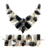 Banded 'Root Beer' Agate, Quartz Crystal and Pearl CONDUCTIVE SILVER Set