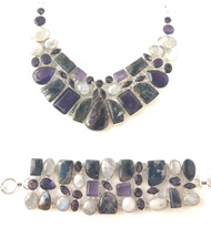 Pietersite, Amethyst and Moonstone Fancy CONDUCTIVE SILVER Set
