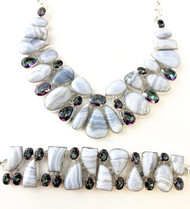 Blue Lace Agate and Mystic Topaz CONDUCTIVE SILVER Set