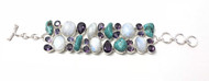 Moonstone, Amethyst and Turquoise CONDUCTIVE SILVER Bracelet