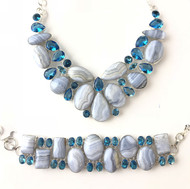 Blue Lace Agate and Blue Quartz CONDUCTIVE SILVER Set