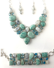 Russian Amazonite, Moonstone, Blue Topaz and Blue Quartz CONDUCTIVE SILVER SET