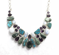 Seraphinite, Shattuckite, Amethyst & Moonstone CONDUCTIVE SILVER Fancy Necklace