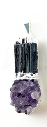 Pretty Protection Black Tourmaline and Amethyst Cluster Pendant