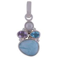 Larimar, Pearl, Amethyst & Blue Topaz Sterling Silver Pendant