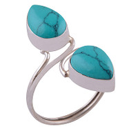 Double Raindrop Turquoise Ring