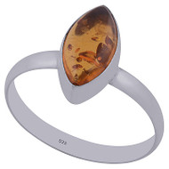 Amber Sterling Silver Ring Size 8
