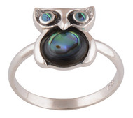 Abalone Owl Ring