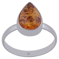 Amber Raindrop Ring Size 8