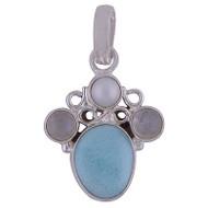 Larimar, Pearl, Rainbow Sterling Silver Pendant