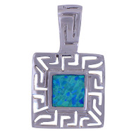 Opal Square Sterling Silver Pendant