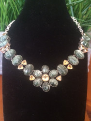 Seraphinite and Citrine Petals Necklace