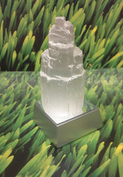 Glowing Selenite Mountain Tower with Color Cascading Light Box