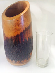Mango Bark Vase with Glass Insert