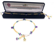 Yellow Citrine, Purple Amethyst and Green Crystal Anklet or XL Bracelet Faceted Single strand