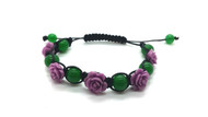 Crystal Clay Flower and Green Quartz Adjustable Bracelet