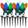 Set of 10 Bright Multi-Color C7 Party Pathway Marker Lawn Stakes - Green Wire - 30851560