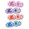 "Club Pack of 192 Multi-Colored Mini Glittered Foil ""30"" Cutout Party Decorations 5.5"" - 31561490"