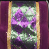 """Sparkling Velvet Argyle Purple, Green and Gold Wired Craft Ribbon 6"""" x 10 Yards - 30931452"""