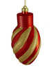 "Red and Gold Glitter Stripe Shatterproof Light Bulb Christmas Ornament 11"" - 23121417"