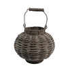 "11.5"" Beach Day Weathered Dark Gray Woven Wood Votive Candle Lantern - 31366680"