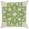 "20"" Lavish Labyrinth Lime Green, Navy Blue and Cream Decorative Square Throw Pillow - Down Filler - 31319339"