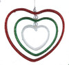 "4"" Nested Red, Green and White Glittered Heart Christmas Ornament - 31085825"