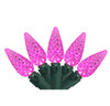 Set of 70 Pink LED C6 Christmas Lights - Green Wire - 24616425