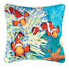 """18"""" Tropical Coral Reef and Star Fish Square Outdoor Throw Pillow - Polyester Down Filler - 32022925"""
