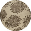 8' Bombay Desert Sand/Driftwood Brown Chrysanthemum Flower Round Throw Rug - 28462669