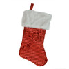 "18"" Red and White Faux-Fur Cuffed Disco Sequined Christmas Stocking - 31462429"