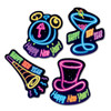 """Club Pack of 48 Neon Party Happy New Year Decoration Cutouts 12"""" - 31557345"""