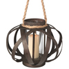 """14"""" Large Brown Open Weave Pillar Candle Lantern with Tan Rope Handle - 31364123"""