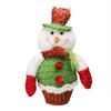 "12.5"" Red, White and Green Plush Glittered Cupcake Snowman Christmas Figure Decoration - 31105086"