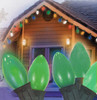 Set of 25 Ceramic Green C7 Christmas Lights - Green Wire - 6463989