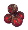 """4ct Red Glitter Sequin Beaded Shatterproof Christmas Ball Ornaments 3.25"""" (80mm) - 30889442"""