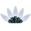 """Set Of 70 Pure White LED C6 Christmas Lights 4"""" Spacing - Green Wire - 6464361"""