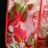 """Semi Sheer Red and Green Fall Colors Wired Craft Ribbon 2"""" x 40 Yards - 31387571"""