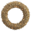 "22"" Pre-Lit Sparkling Gold Glittered Sequin Christmas Iced Wreath #XAI620-GO - 6077068"