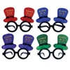 Club Pack of 12 Glittered Happy New Year Top Hat Decorative Party Glasses - 31563984
