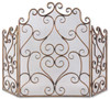 """36"""" Gold and Bronze Fireplace Screen with Hand Forged Iron Scrolling Design - 30930758"""