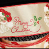 "Gold with Red Merry Christmas Santa Print Wired Craft Ribbon 2.5"" x 20 Yards - 31388223"