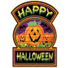 """Club Pack of 12 Bats and Pumpkins Happy Halloween Sign Decoration 17"""" - 31559948"""