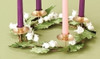 """11.5"""" White Glittered Berry and Green Leaf Christmas Advent Wreath Taper Candle Holder - 31104755"""