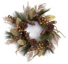 """24"""" Brown and Gold Mixed Foliage Pine Cone, Berries and Ribbon Artificial Christmas Wreath - 31345657"""
