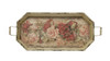 """28"""" Vintage Rose Distressed Finish Cream Floral Pattern Decorative Tray - 31350014"""